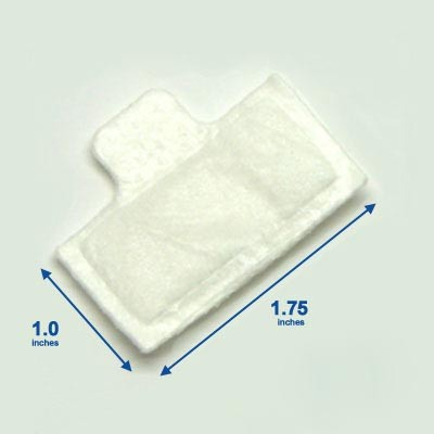Replacement Filters with the TAB for the Respironics M-Series, SleepEasy, and System One. Ultra-fine filters, 1.0 inch x 1.75 inch.